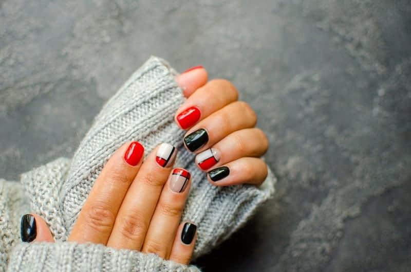 Black Red White Natural Square Nails