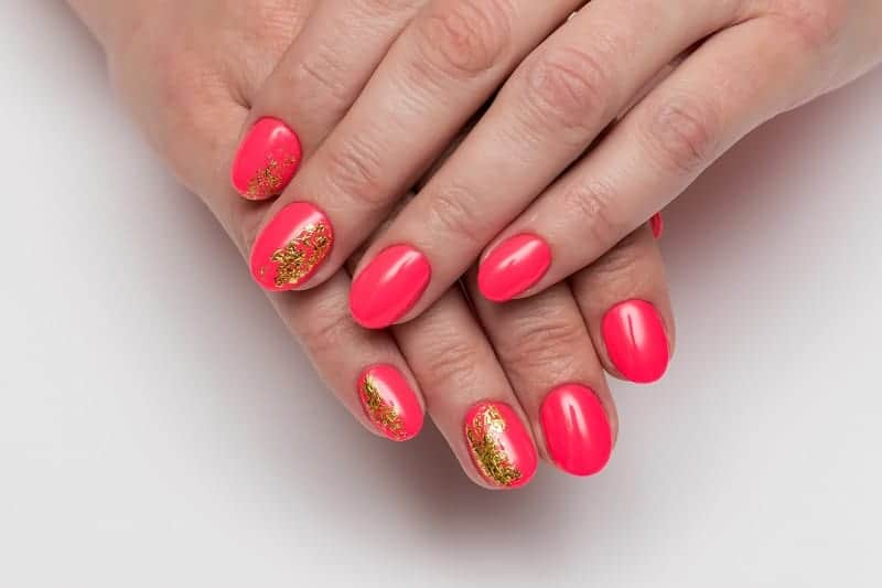 Coral Inspired Gold Nails
