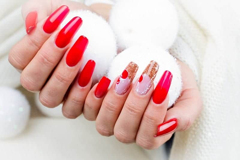 Extra Long Acrylic Nails With Glitter Decorations