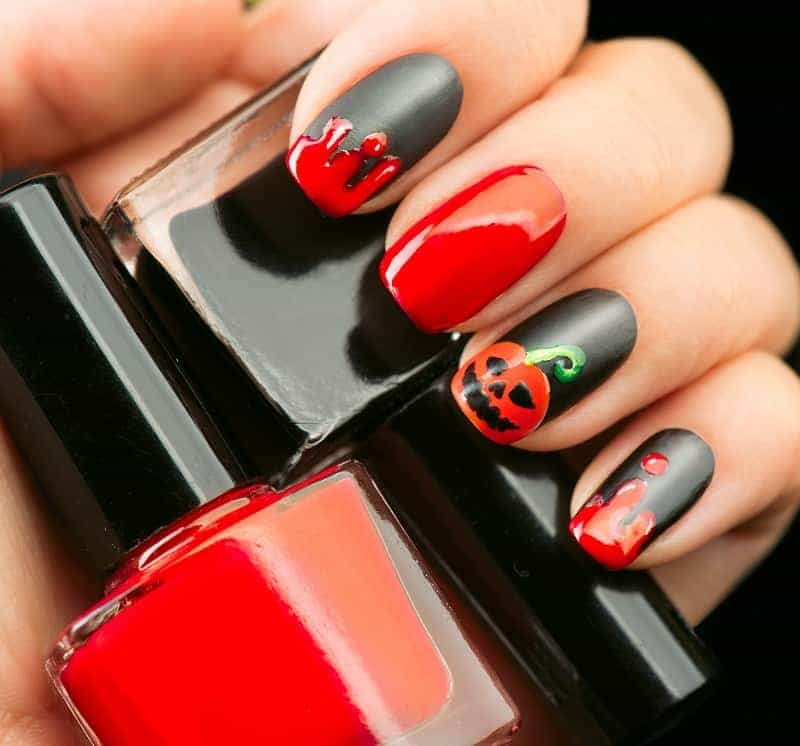 Halloween Inspired Black Red Nails