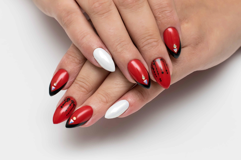 Ladybug Inspired Squoval Nails