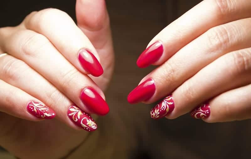 Long Red Nails With Hints Of Gold