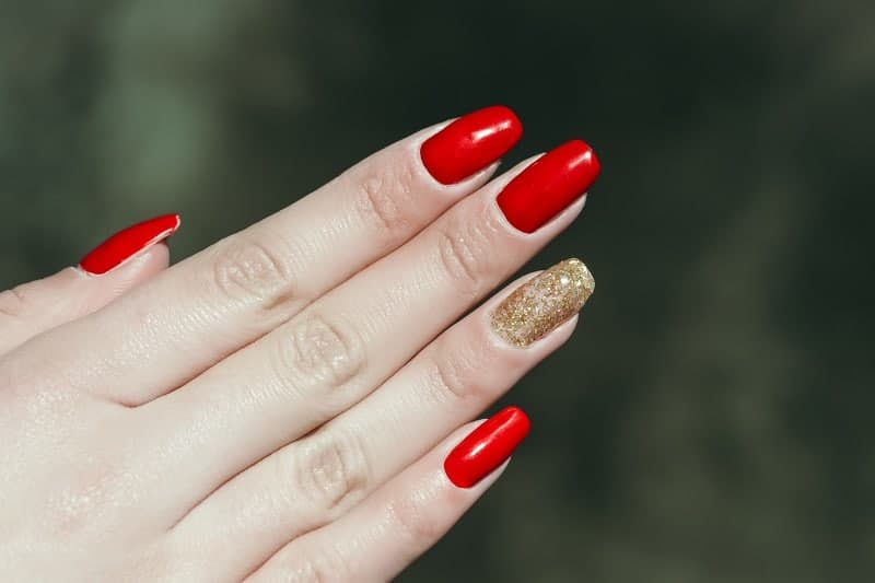 Red Square Shaped Nails
