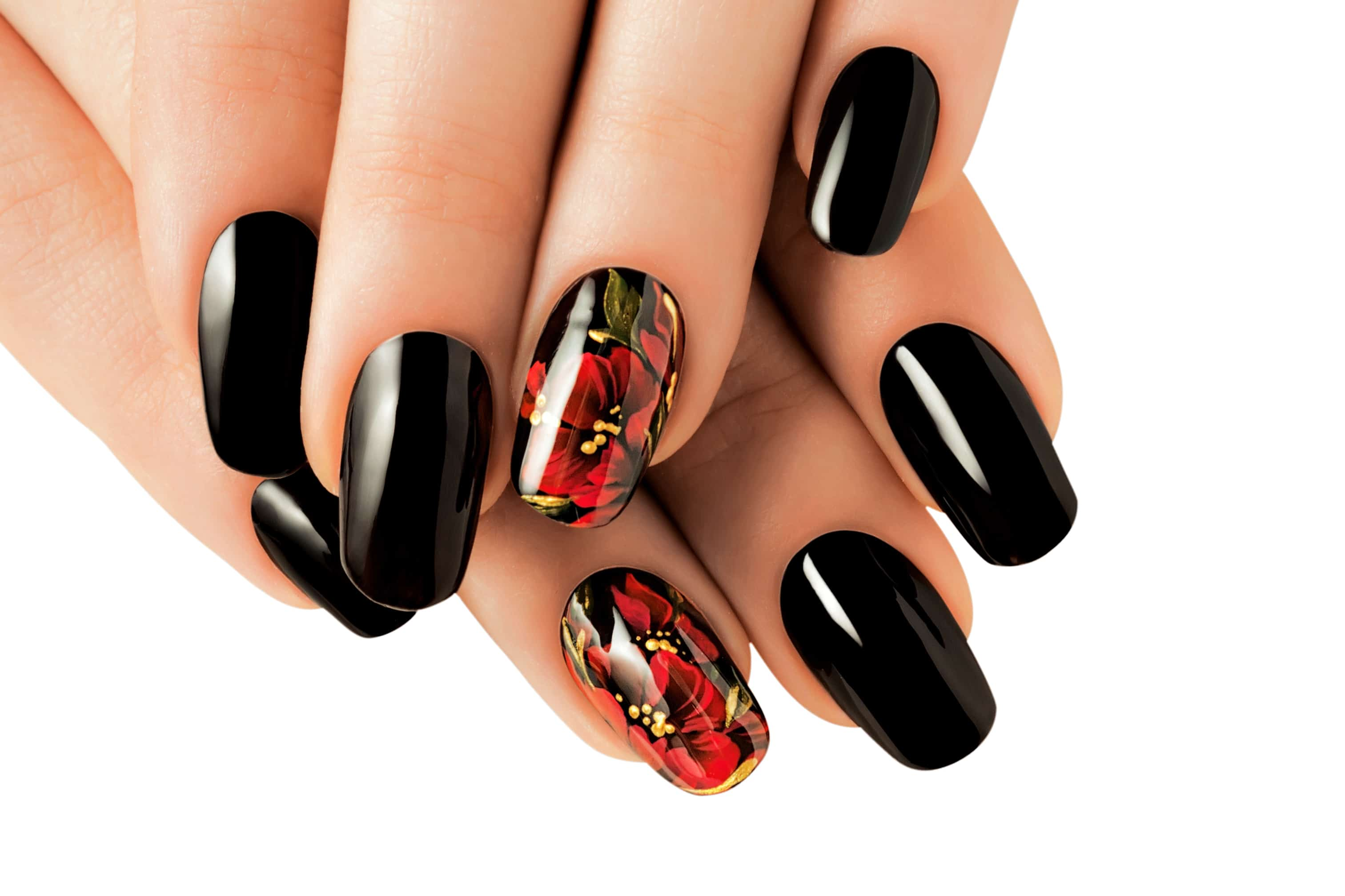 Short Black Oval Nails With Floral Prints