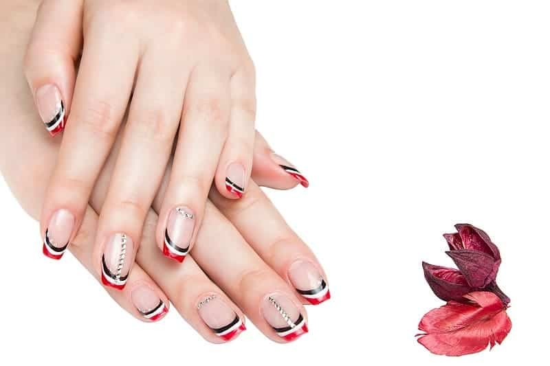 Short French Nails With Black Red White Lines