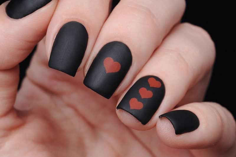 Short Matte Black Nails With Heart Symbol