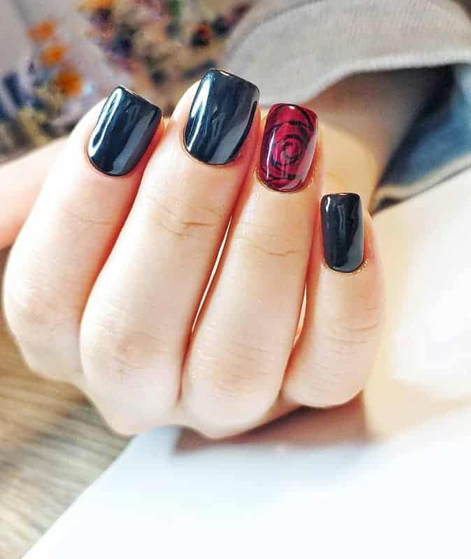 Short Square Nails With Red Rose Design