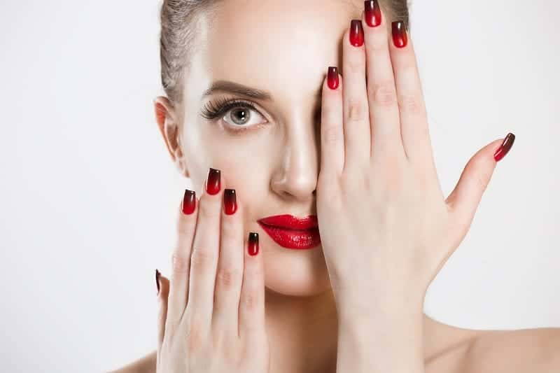 Square Shaped Long Red Black Nails