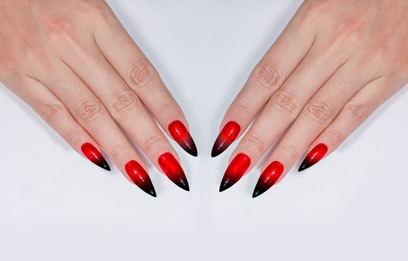 Super Long Stilleto Red Black Ombre Nails