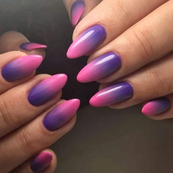 Beautiful Purple Pink Ombre Nails