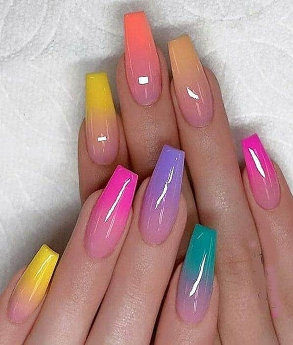 Bright And Colorful Ombre Manicure