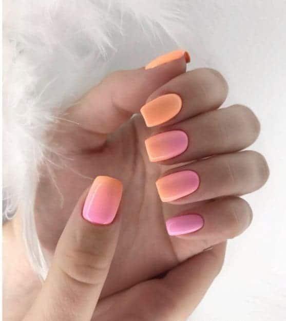 Bright Orange Pink Neon Ombre Nails