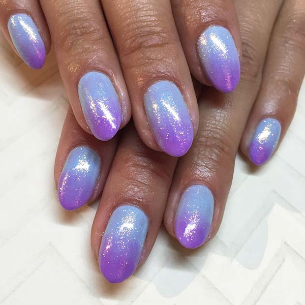 Bright Purple And Blue Ombre Nails