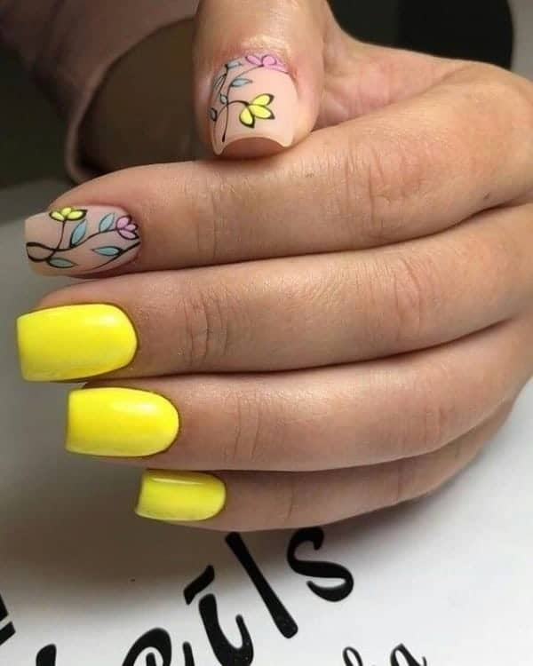 Bright Yellow Floral Inspired Manicure