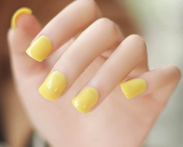 Bright Yellow Short Nails