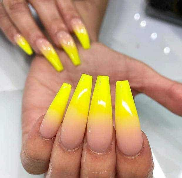 Bright Yellow Square Shaped Ombre Acrylic