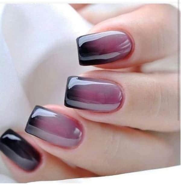 Dark Purple Wine Inspired Ombre Nails