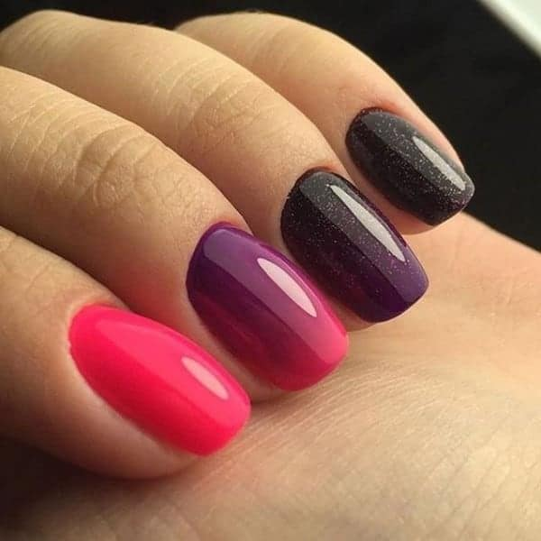 Dark Purple With Red Tips nail