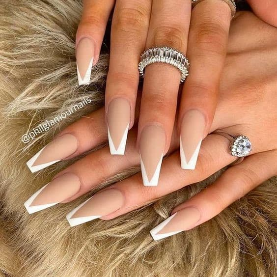 French Acrylic Nails Matte Design