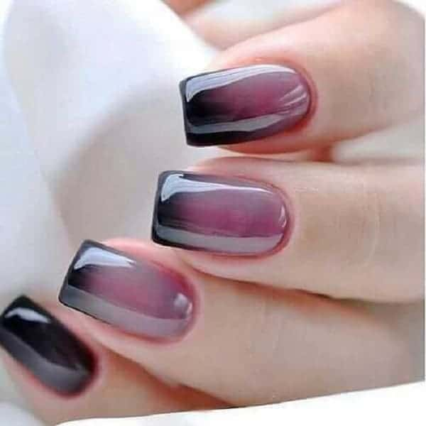 Glossy Black Ombre Nails