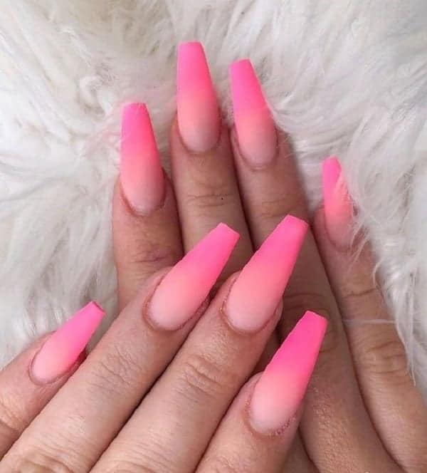 Hot Pink Coffin Ombre Nails