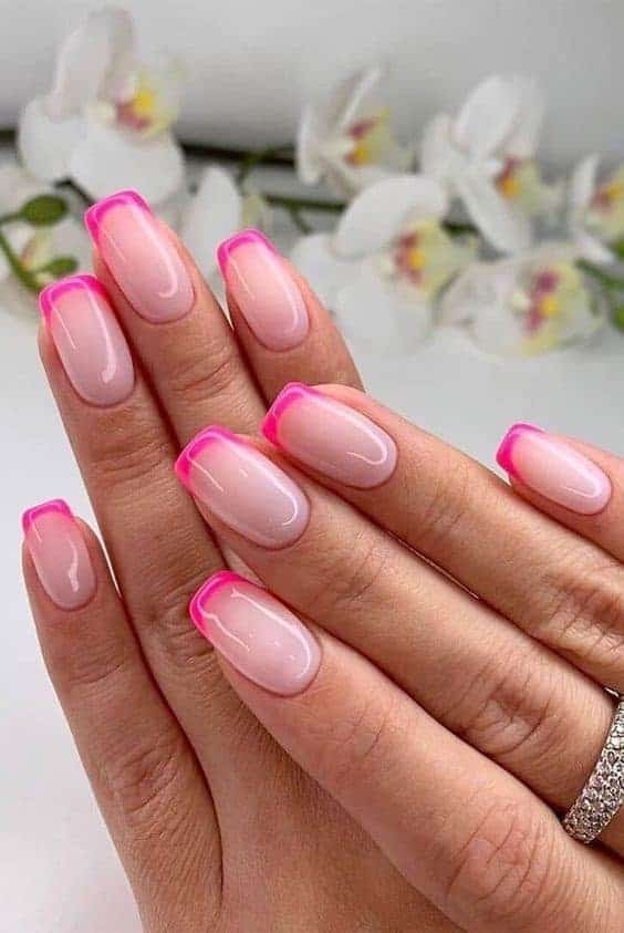 Hot Pink Square Shaped Acrylic Manicure