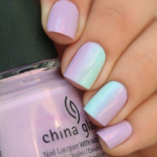 Lilac Mint Ombre Manicure