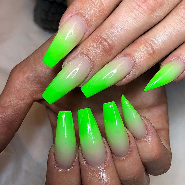 Long Green Acrylic Nails With Ombre Transition