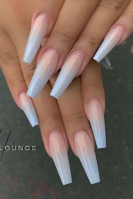 Long Shiny Acrylic French Ombre Nails