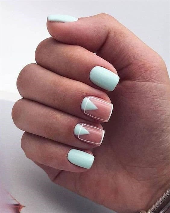Mint Inspired Square Shaped Nails