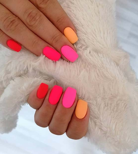 Neon Inspired Square Shaped Short Nails