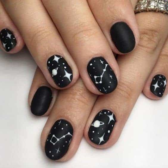 Oval Black Nails With White Details