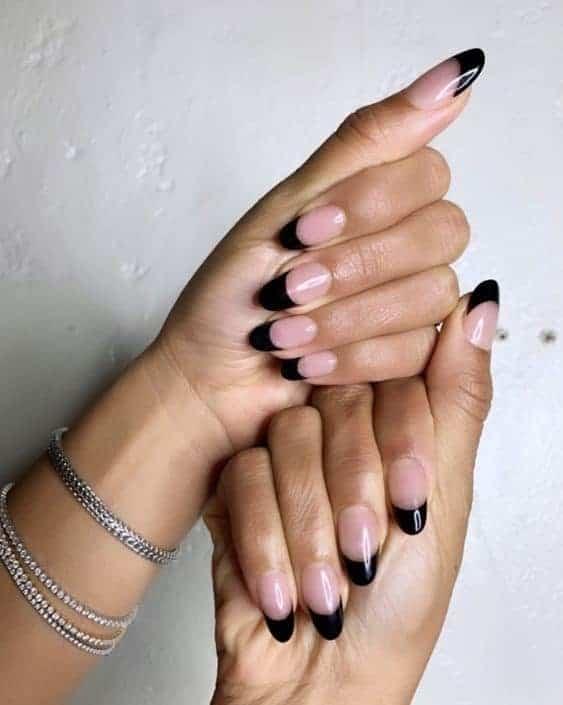 Oval Shaped Black Acrylic French Nails