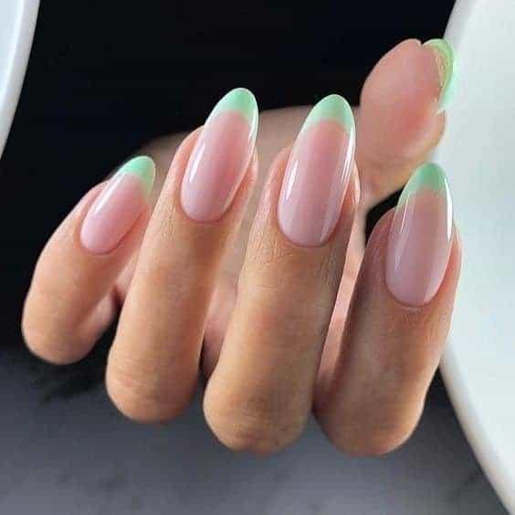 Oval Shaped Bright Green Acrylic Nails