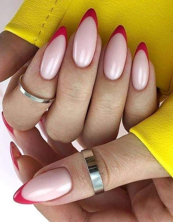 Oval Shaped Red French Manicure