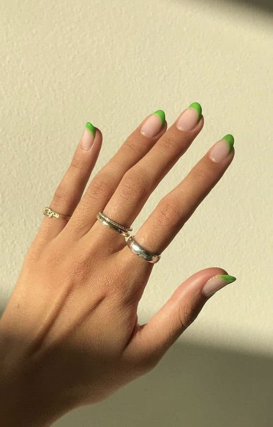 Oval Short Green French Nails