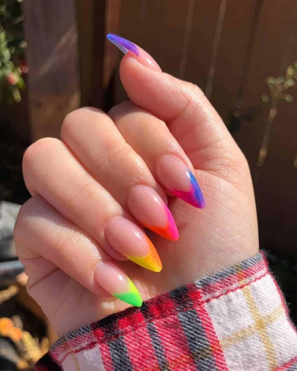Rainbow French Nails