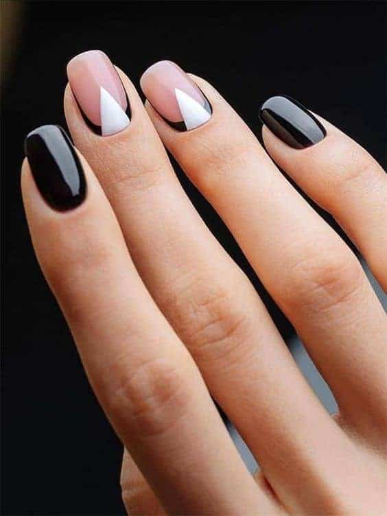 Short Black And White Nails
