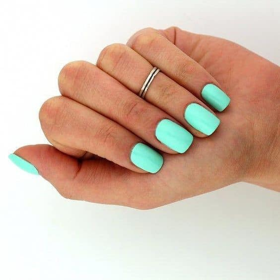Short Mint Square Shaped Manicure