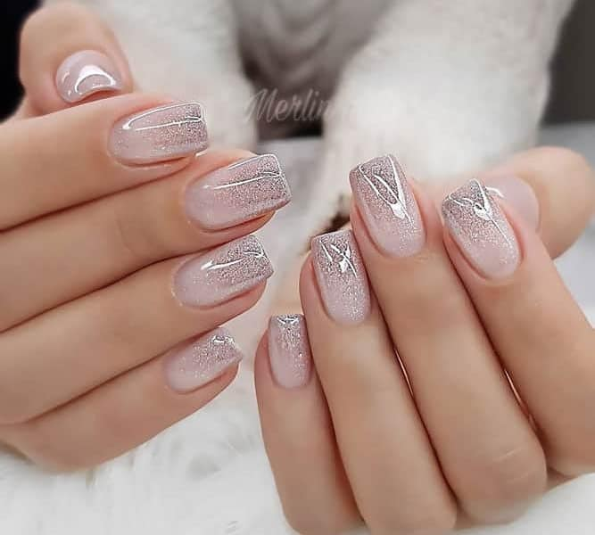 Short Ombre Nail With Glitter Sparkle