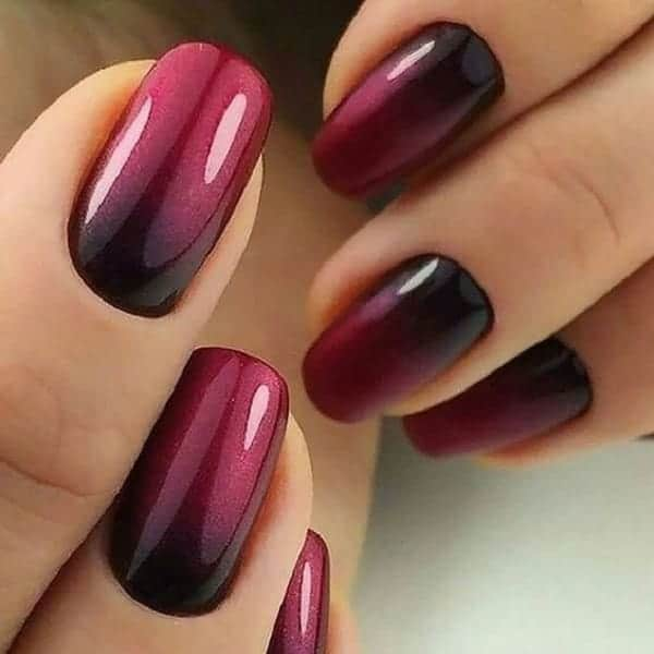 Short Ombre Nails Red Design