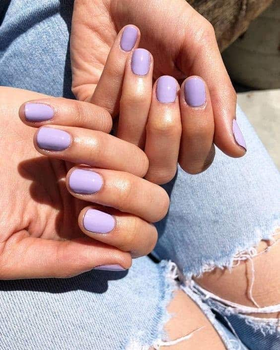 Short Purple Lilac Oval Nails