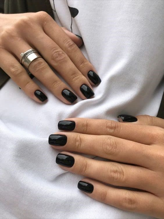 Short Square Shaped Black Nails