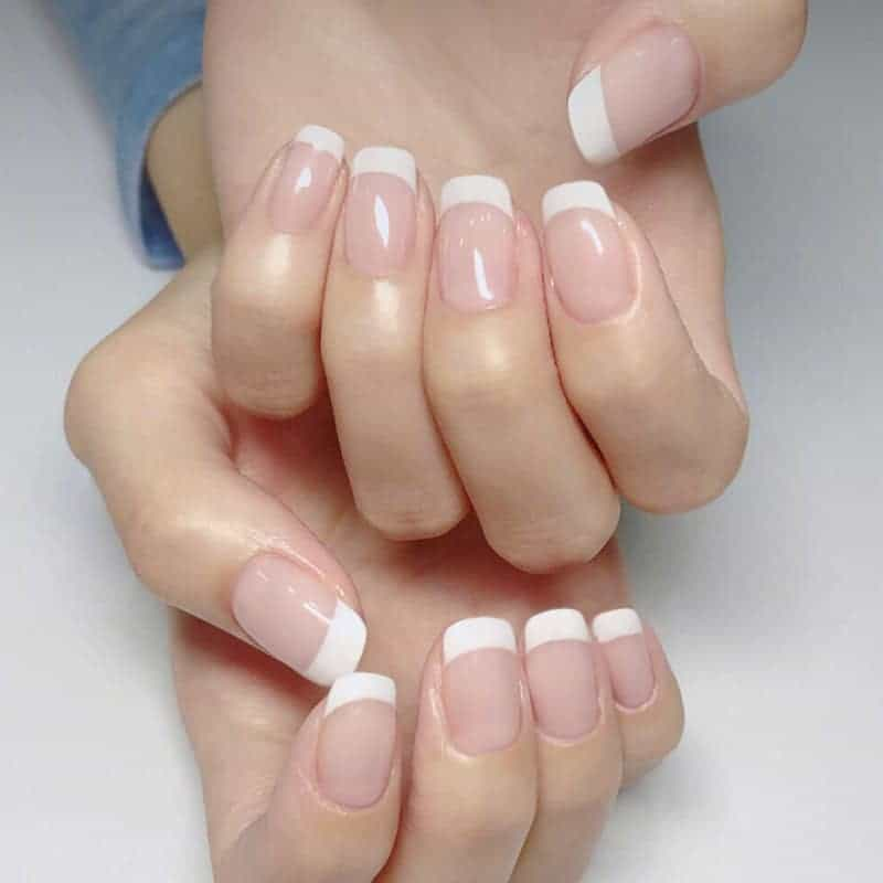 Short Square Shaped French Nails