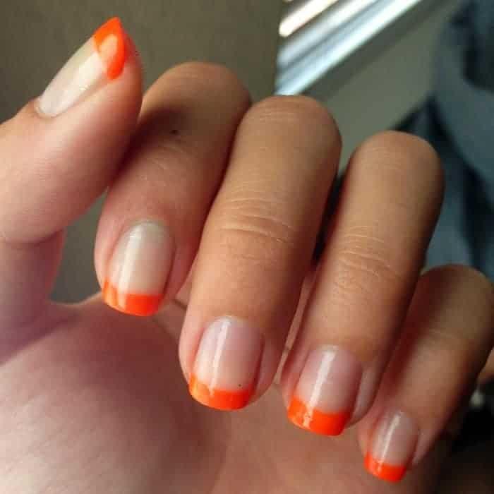Short Square Shaped Orange French Nails