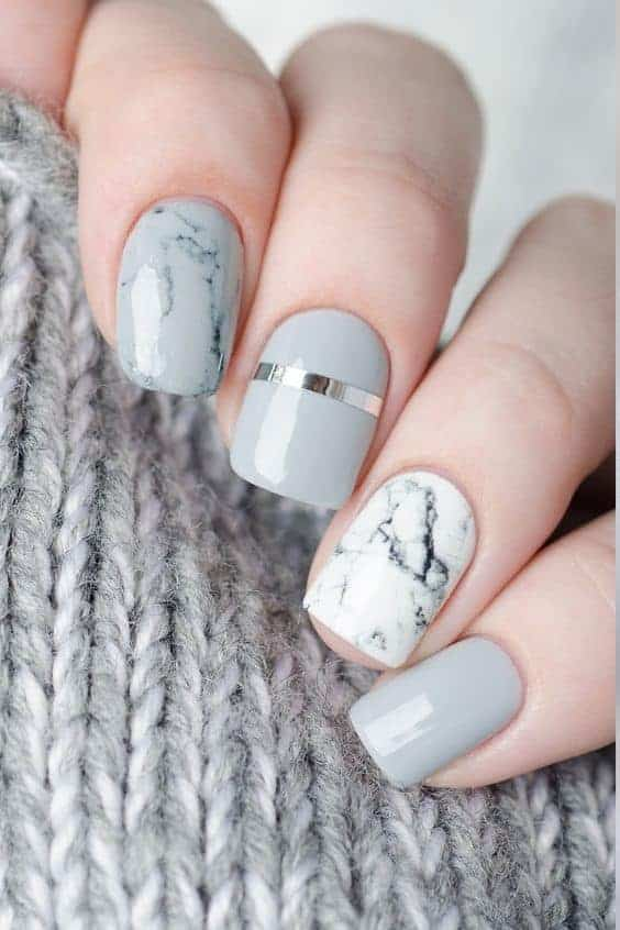 Silver Marble Short Manicure