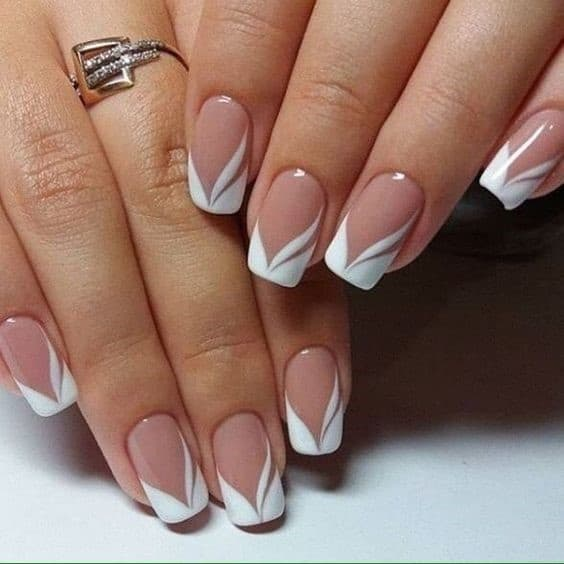 Square Shaped French Acrylic Nails