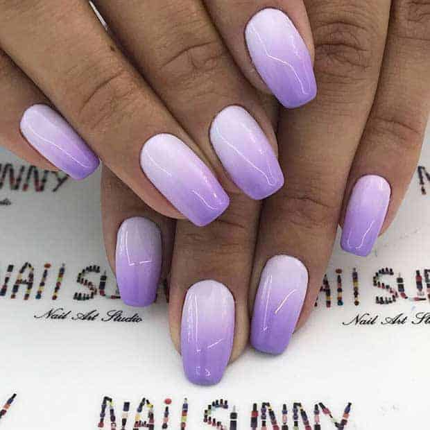 Square Shaped Lilac Purple Ombre Nails