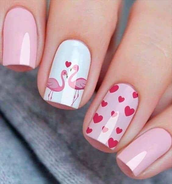 Valentine Inspired Short Red & Pink Manicure