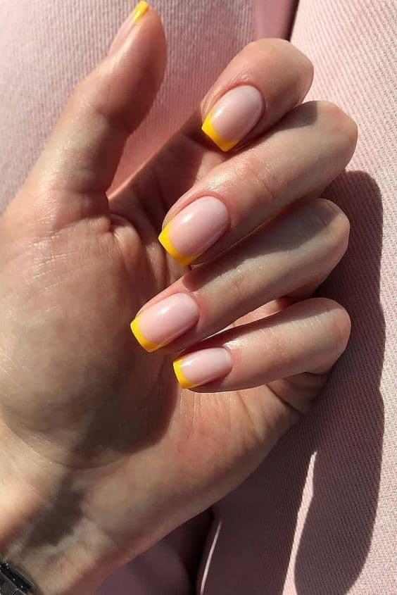 Yellow Short French Nails